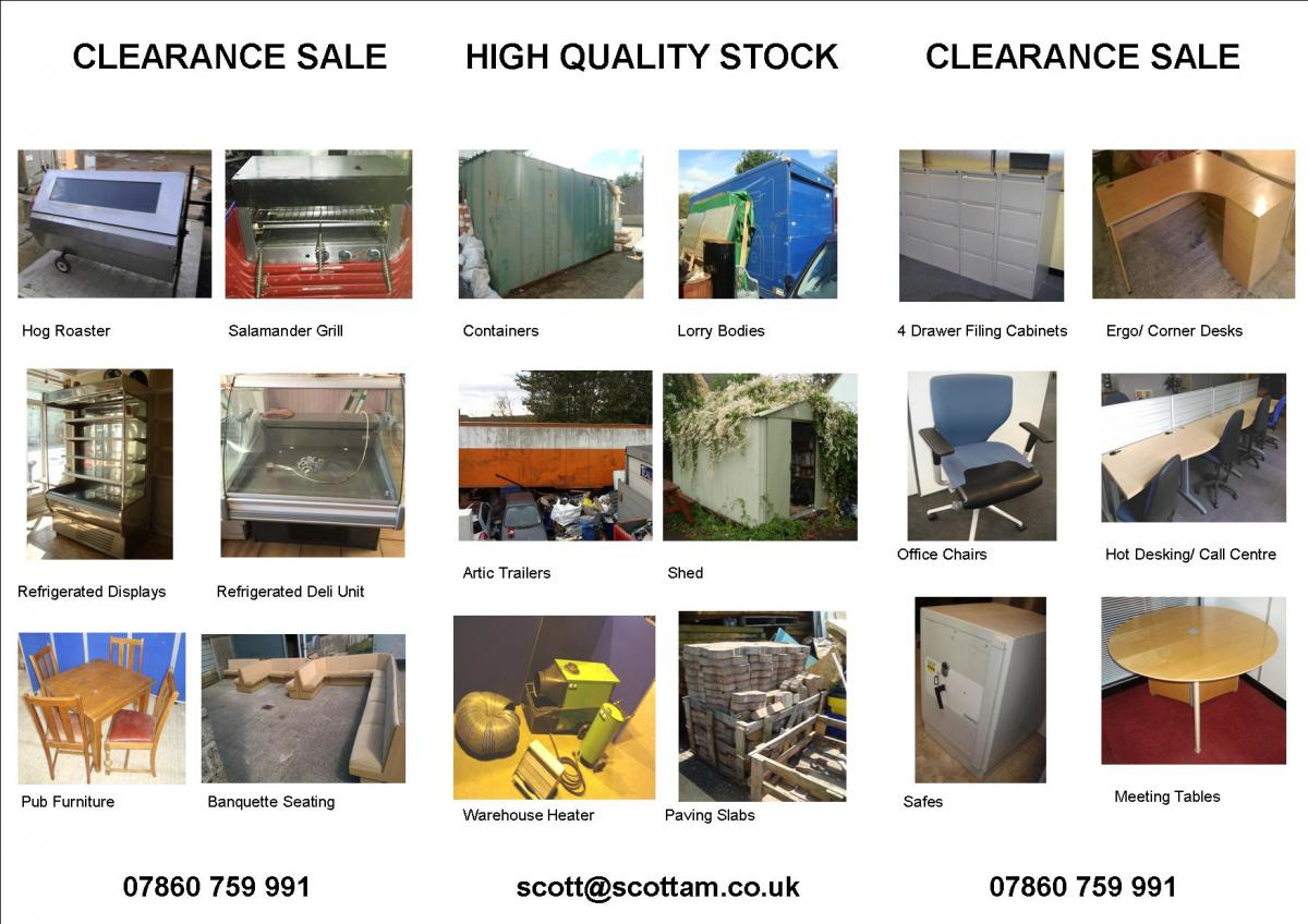 Catering equipment, office furniture, it and more available