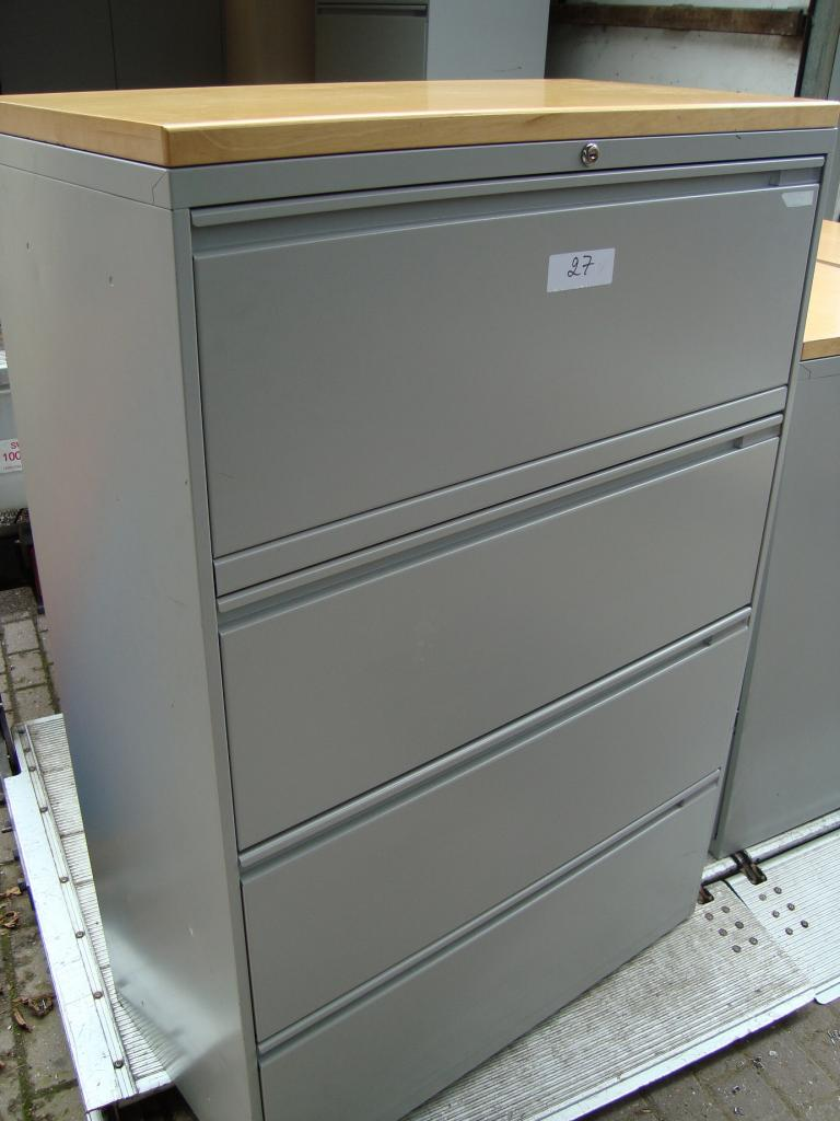 Lateral Filing Cabinet 4 Drawer Grey Metal