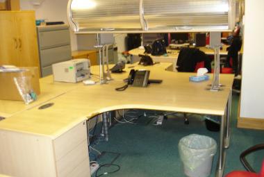 used 1600mm corner desk maple overhead storage newbury berkshire