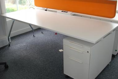 vitra 2200mm white straight desk newbury berkshire