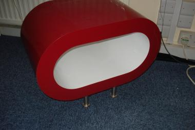 red and white oval coffee table designer office newbury reading berkshire