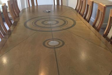 boardroom table veneer inlaid newbury berks