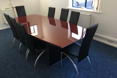 babini red glass boardroom table designer modern newbury reading berkshire