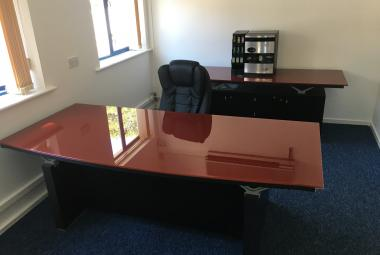 babini bow fronted glass exec desk designer newbury reading berkshire
