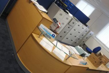 oak reception desk with gallery ledge oxford newbury