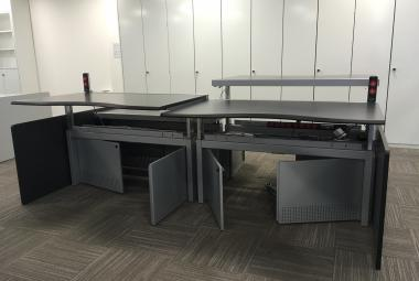 used das height adjustable dealer desk newbury
