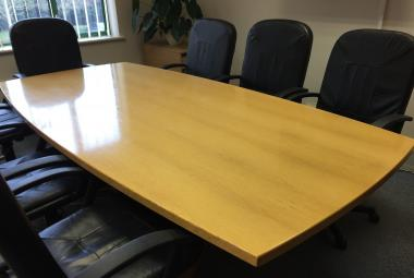 used 2.5m beech veneer boardroom table newbury berkshire