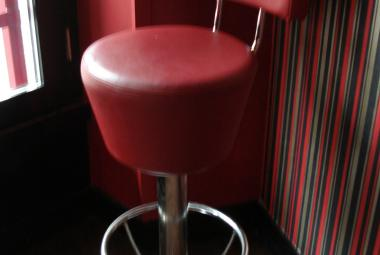 used podium bar stool nightclub liquidation newbury red leather