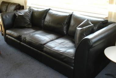3 seater sofa black leather high grade leather berks surrey hants