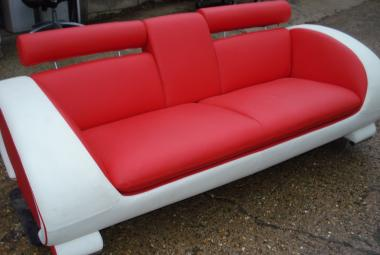 used modern red and white sofa with drinks holder armrest newbury reading berkshire