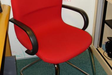 used cantilever sleigh base meeting visitor chair red fabric newbury basingstoke