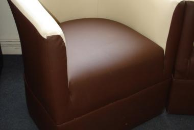 used tub chair with arms brown and cream leatherette chertsey