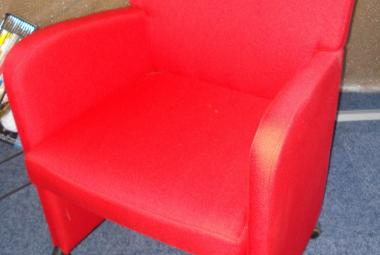 red fabric reception tub chair on wheel newbury berkshire