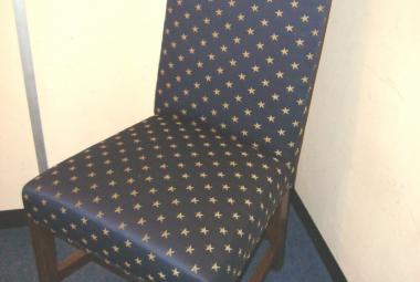 dark blue fabric golden star design dining chair