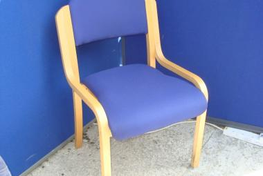Natural  Beech Meeting Chair without Arms in Dark Blue