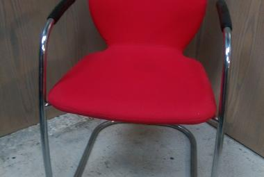 boss design visitor chair red fabric