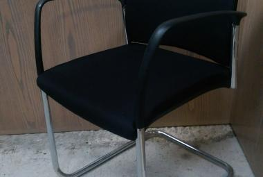 boss design sleigh base meeting chair with arms black