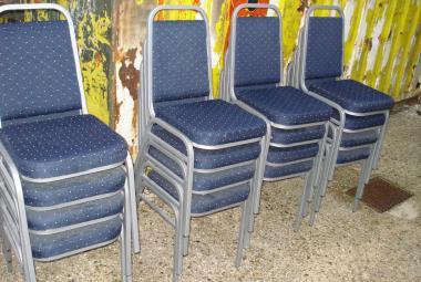 banquet chair stackable blue fabric silver frame newbury reading berkshire