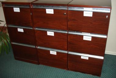 rosewood veneer 3 drawer filer