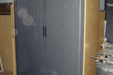 oak tambour roll front cupboard with shelves newbury berkshire