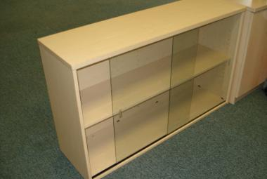 used glass fronted pale oak bookcase with 1 shelf newbury