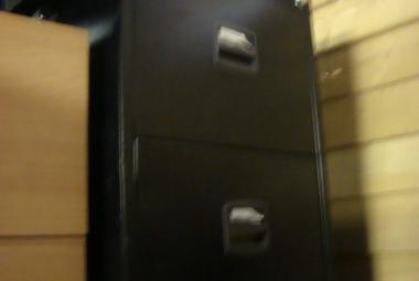 2 drawer black metal filing cabinet