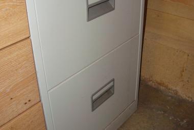 2 drawer foolscap grey metal filing cabinet