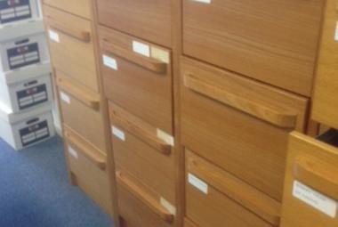 oak veneer 4 drawer filing cabinet used basingstoke newbury