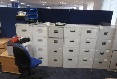 4 drawer grey metal foolscap filing cabinet office garage warehouse oxford