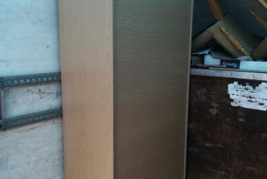 tall vertical roll front cupboard with adjustable shelves light oak newbury berks