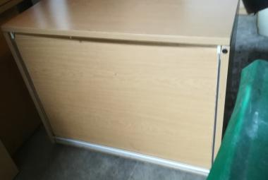 used light oak vertical tambour roll front office cupboard newbury reading berkshire