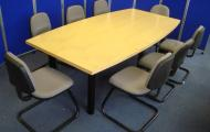 used 2400mm maple veneer boat shape table reading newbury berkshire