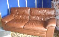 large brown leather settee newbury reading  berkshire