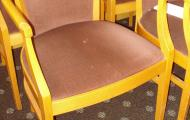 used lounge chair with arms rust fabric wood framed chertsey